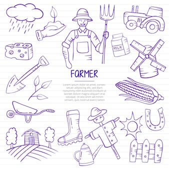 Farmer jobs or career professional doodle hand drawn with outline style on paper books line vector