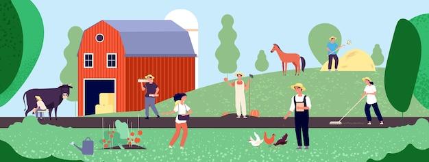 農民の生活。農業労働者は、自然、農業、有機農業のフラットなイラストの機器を使用して作業します。農業労働者と農民は農場で働いています