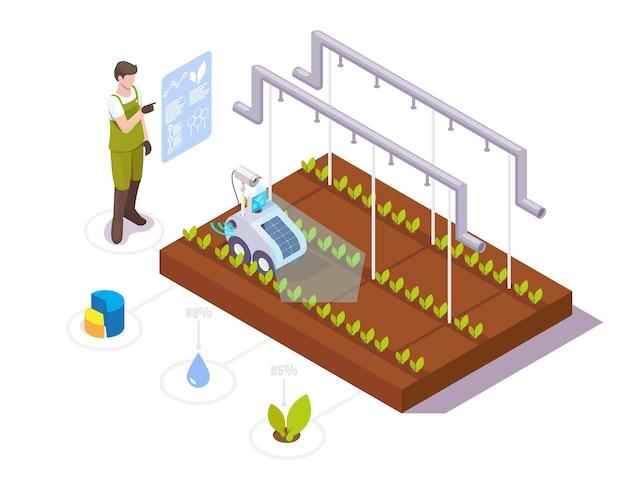 로봇 공학 기술 벡터 아이소메트릭 일러스트레이션을 사용하여 온실 작물 성장 분석을 하는 농부