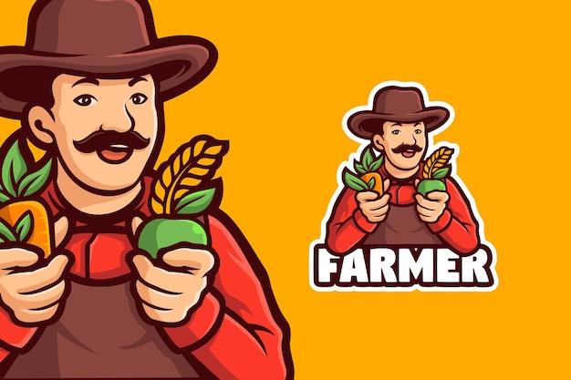 농부 남자 만화 로고 템플릿