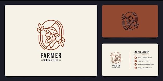 Farmer man monoline logo design