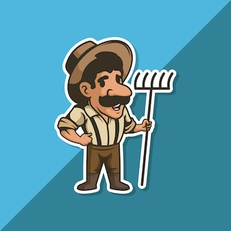 Farmer man with a mustache wearing a hat holding a rake in his hand.