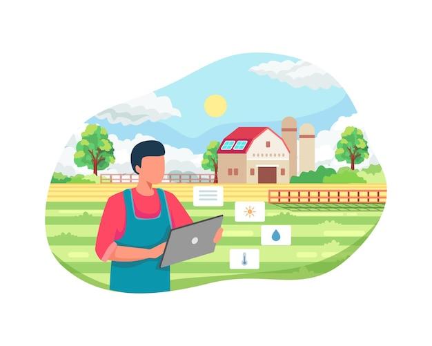 彼の工業農場を管理している農夫。タブレット上のモバイルアプリを使用したスマートファーマーの監視および分析データ。スマート農業、農業における革新的なアプローチ。フラットスタイルのベクトル