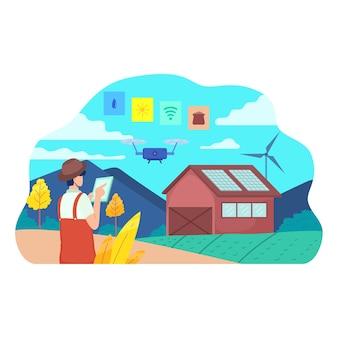 Farmer managing his industrial farm using smartphone app