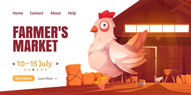 Farmer market cartoon landing page with chicken in barn or farm house.