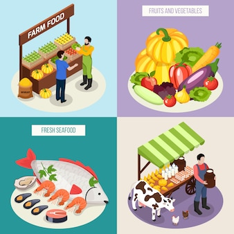 Farmer market concept set of fresh seafood milk products fruits and vegetables isometric