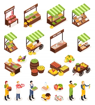 Farmer market isometric icons set of counters boxes casks with fresh meat fruits vegetables dairy and sea produce