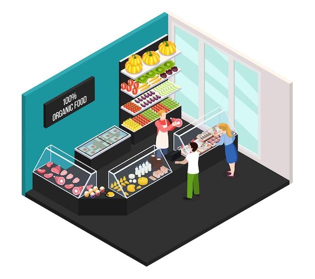 Mercato degli agricoltori di interni isometrici di alimenti biologici con il venditore che mostra la carne di fattoria fresca acquirenti