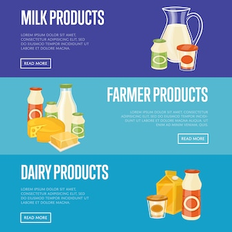 農家、牛乳、乳製品のバナーテンプレート