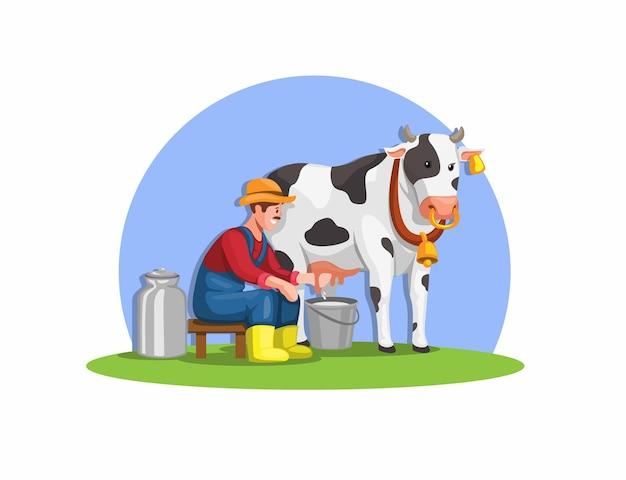 動物農場イラストベクトルから牛の新鮮な有機牛乳を搾乳農家