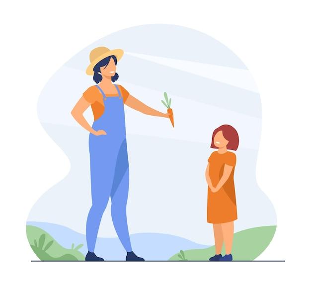 農夫のお母さんと子供。屋外で子供に新鮮な野菜を与える母。漫画イラスト