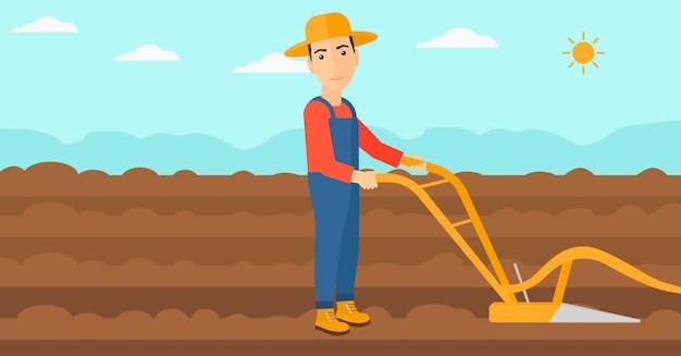 プラウとフィールドの農夫。