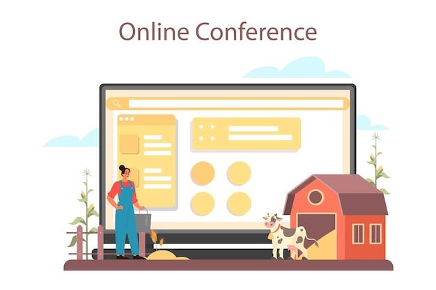 농부 온라인 서비스 또는 플랫폼. 필드에 농장 노동자입니다. 여름 시골보기, 농업 개념. 마을에 살고 있습니다.