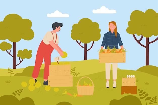 木製のバスケットを持って農場の庭の幸せな女性で野菜を収穫する農家の人々