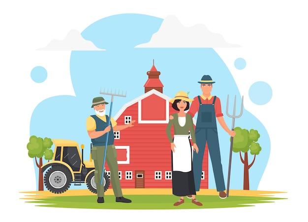 Фермеры в фермерской деревне, сельскохозяйственные рабочие, держащие стоячие вилы