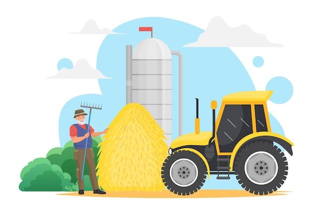 Фермеры работают в деревне, собирают урожай зерна, пожилой работник сельского хозяйства держит вилы