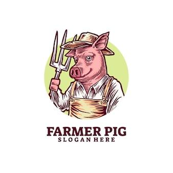 Логотип логотипа свиньи-фермера