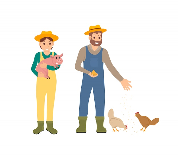Farmer and pig man with hens vector illustration