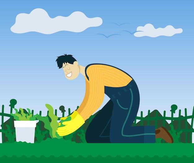 Фермер сажает растения в саду. цветной вектор плоский мультфильм иллюстрации.