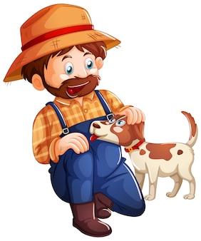 白い背景の上のかわいい犬と遊ぶ農夫