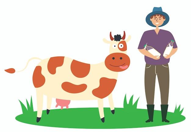 Farmer produces milk cow