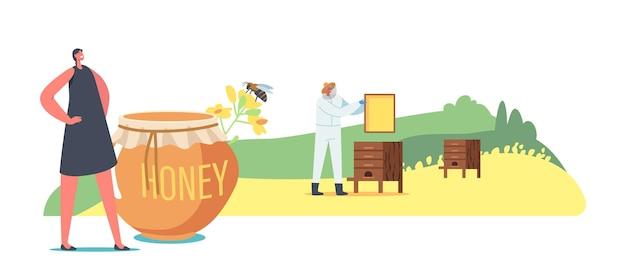양봉장에서 친환경 제품을 생산하는 농부. 캐릭터 추출 유채 유채 꿀, 양봉장 생산. 벌집을 복용하는 보호복을 입은 양봉가. 만화 사람들 벡터 일러스트 레이 션