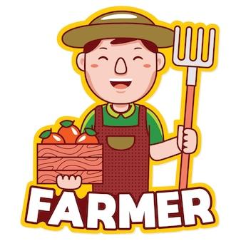 Вектор логотипа талисмана профессии фермера в мультяшном стиле