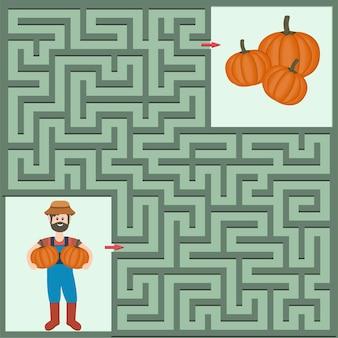 Farmer and pumpkin maze, color isolated vector illustration.