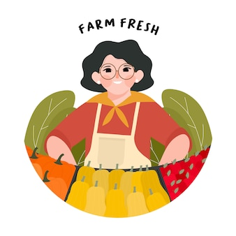 Farmer's market design illustration. support local farmers concept. eat local organic production. farmer standing at counter of greengrocer's shop or marketplace selling fruits vegetables