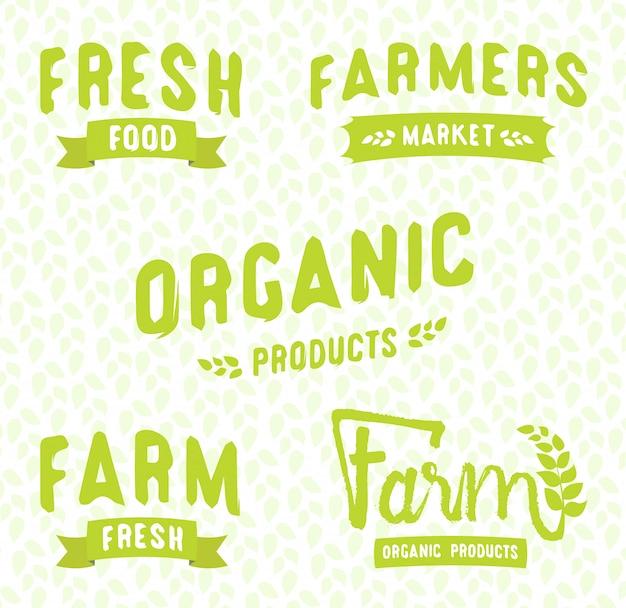 Фермерский рынок логотипы шаблоны векторных объектов набор. векторные этикетки продуктов для вегетарианского ресторана.