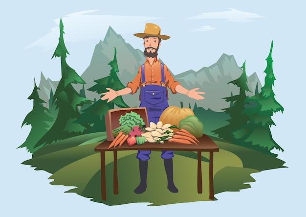 ファーマーズマーケット、ビレッジフェア。農場で育てられた新鮮な野菜を持ってカウンターの後ろに立っている男性。分離。