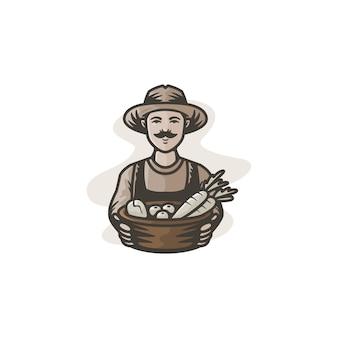 Farmer's mascot with classic color illustration