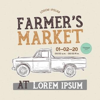 Фермерский рынок тематический винтажный стиль векторные иллюстрации старой школы farmer's. рука рисовать эскиз вектор.