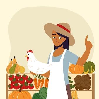 농부 판매자 유기농 현지 생산
