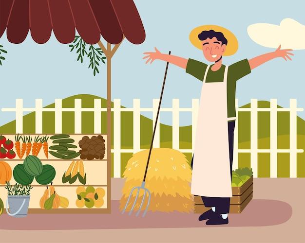 농부 판매자 유기농 제품