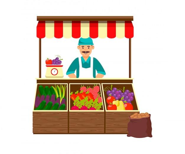 Farmer selling fruit and vegetables illustration