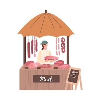 孤立したストリートマーケットのイラストで彼の肉製品を販売している農夫