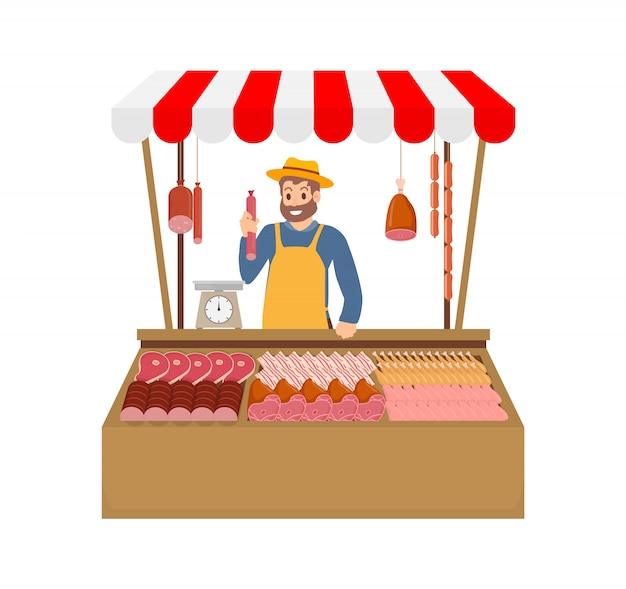 Farmer selling meat products vector illustration