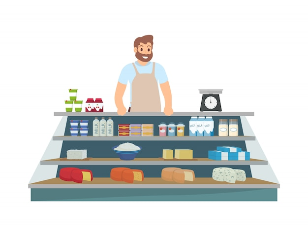 Farmer selling products icon illustration