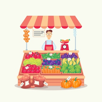Farmer selling vegetable products in a stall