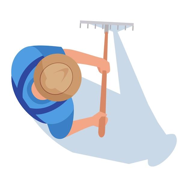 Фермер полу плоский цветовой векторной иллюстрации rgb. человек работает на поле. рабочий-мужчина с граблями. агрономические работы на почве плантации. садовник изолированных мультипликационный персонаж вид сверху на белом фоне