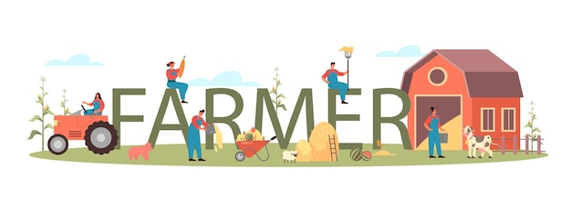 Farmer typographic header illustration