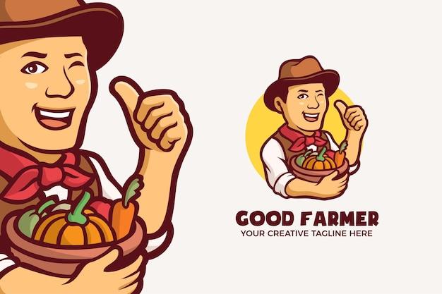 Шаблон логотипа персонажа талисмана фермера овощных органических продуктов