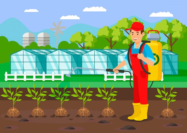 Farmer watering plants flat vector illustration
