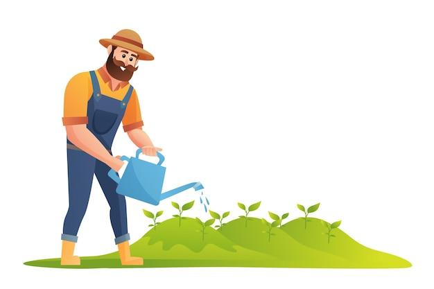 Фермер поливает растения иллюстрации
