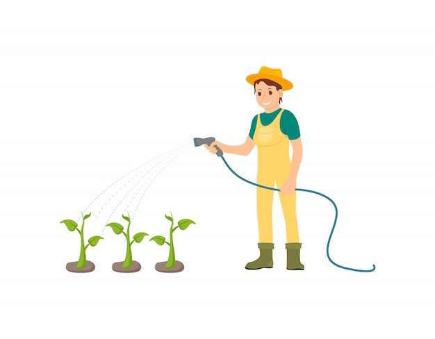 Farmer watering plants