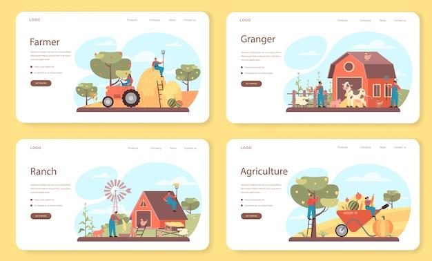 농부 웹 배너 또는 방문 페이지 세트.