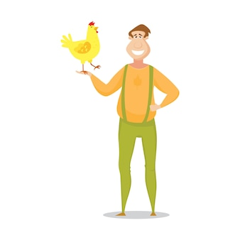 Фермер с милым желтым цыпленком.