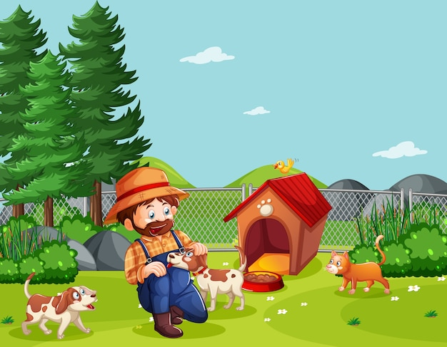 漫画風の農場シーンで動物農場を持つ農夫