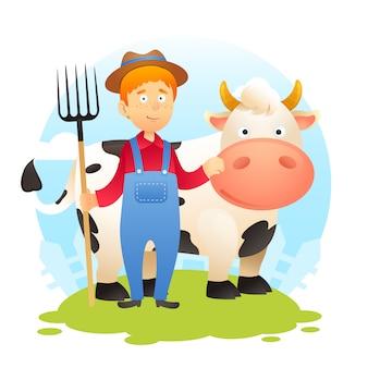 Contadino con mucca